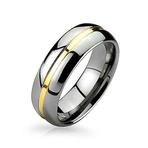 two tone tungsten gold groove inset wedding band ring 8mm