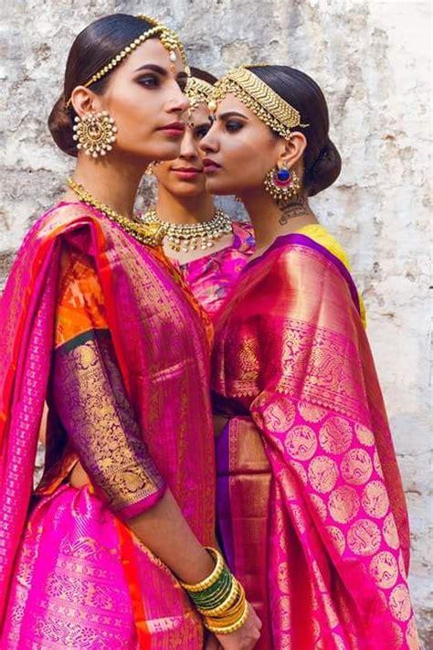 gorgeous pink benaras silk sarees  bridal jewellery