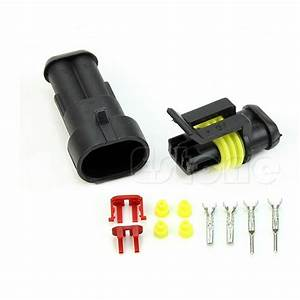 10 Kits 2 Pin Way Sealed Waterproof Electrical Wire Connector Plug Car Auto Set