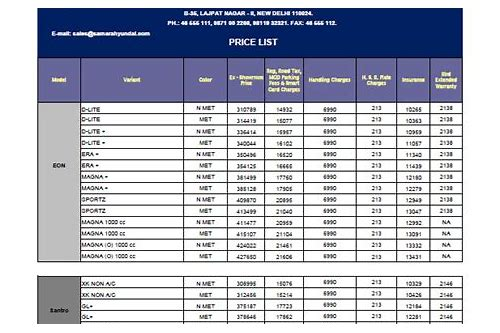 download excel price list