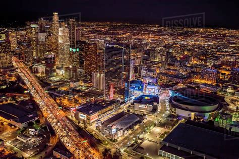 aerial view  cityscape  night los angeles california