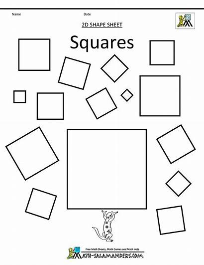 Square Shapes Different Template Clipart Squares Worksheets