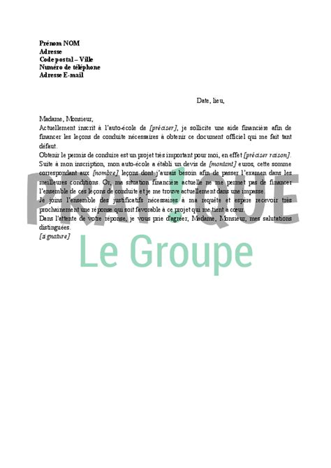 formation de cuisine gratuite lettre de demande de financement du permis de conduire à un organisme pratique fr