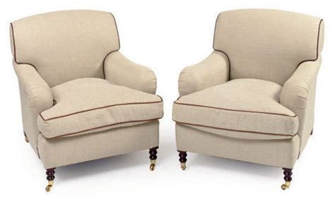 A Pair Of Leather-trimmed Cream Twill-upholstered Club