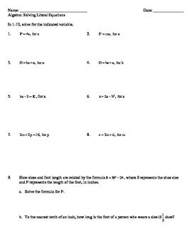 Solving Literal Equations Worksheet By Common Sense 4 The Common Core
