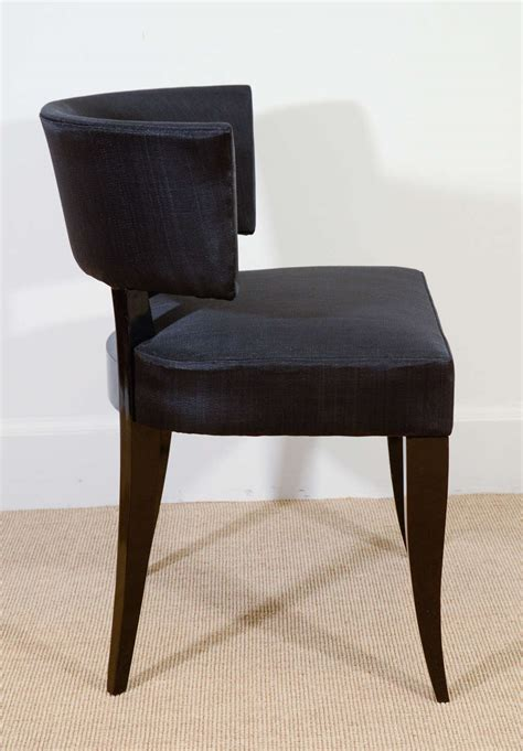 a made to order upholstered lacquered klismos chair in the