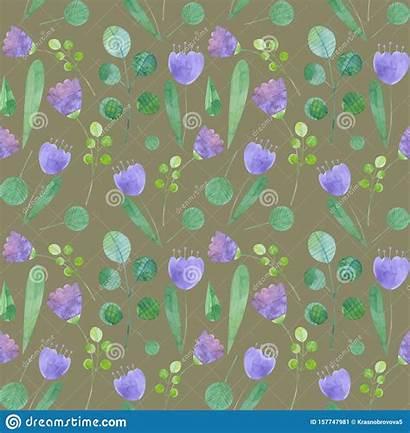 Stylized Seamless Watercolor Flowers Pattern Botanical Spring