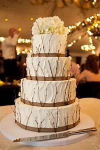 Rustic Burlap Wedding Cake with Tree Braches for Fall