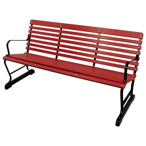 Ivy Terrace 60 In Black And Sunset Red Patio Bench