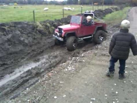 kids gas jeep two kids drive a 1 2 size jeep through mud youtube