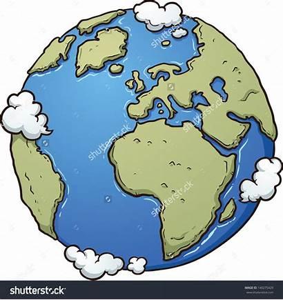 Earth Cartoon Clip Vector Clipart Simple Surface