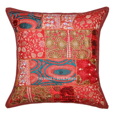 brown boho patchwork embroidered decorative throw pillow