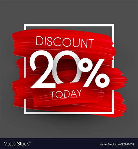 Sale 20 discount promo poster with red brush Vector Image