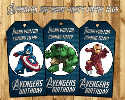 avengers favor tags lego avengers birthday