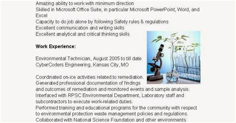 Environmental Health And Safety Technician Resume by Resume Sles Environmental Technician Resume Sle