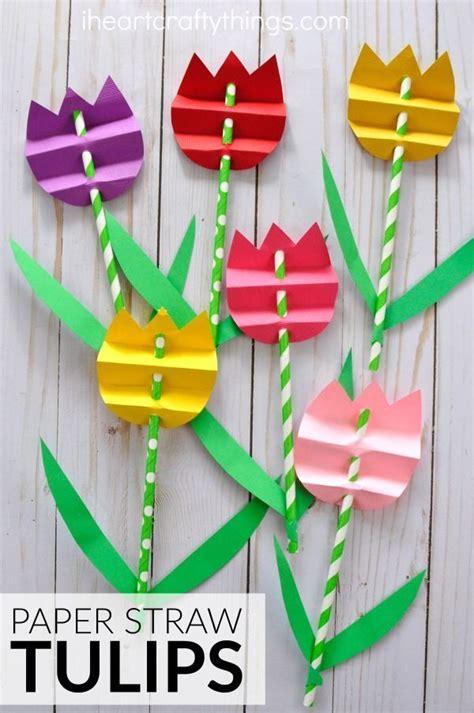 pretty paper straw tulip craft spring crafts  kids