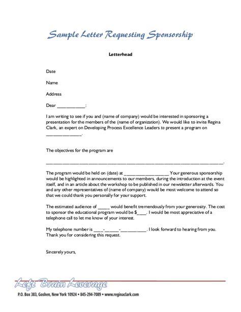 sample letter  sponsorship