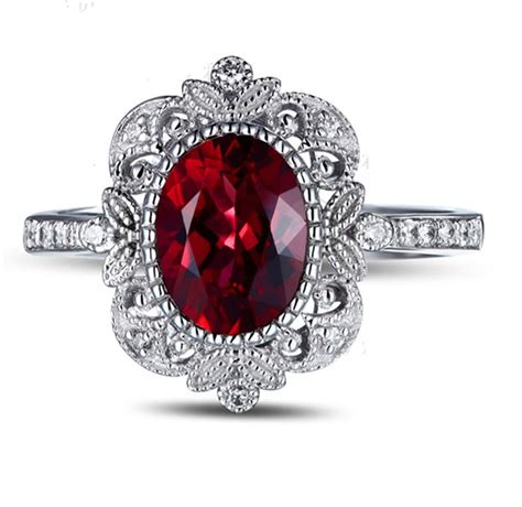 vintage 1 50 carat ruby and engagement ring in white gold for jeenjewels