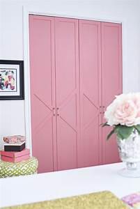 diy coral glam bi fold closet door makeover tutorial With build bifold doors