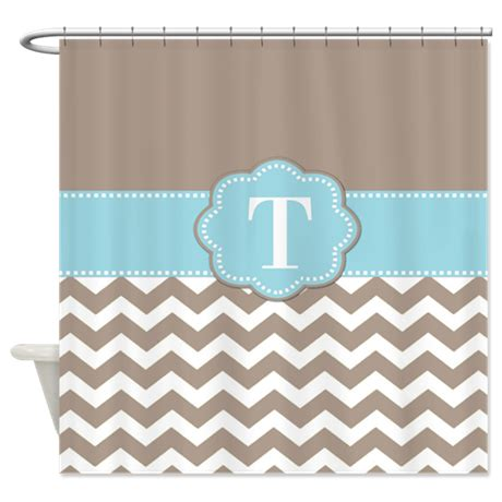 Blue Chevron Bathroom Set by Taupe Blue Chevron Monogram Shower Curtain By