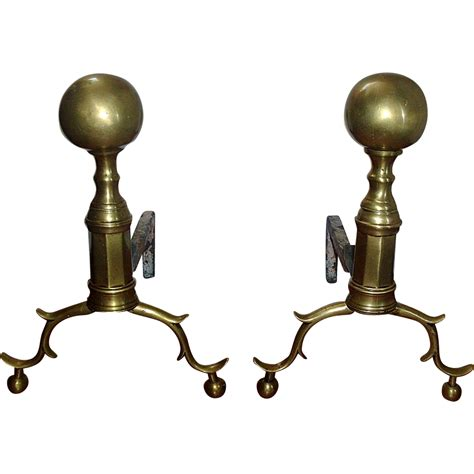 early 19th c american classical brass andirons with ball