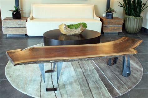 handmade custom black walnut slab bench or coffee table with live edge by customarx custommade com