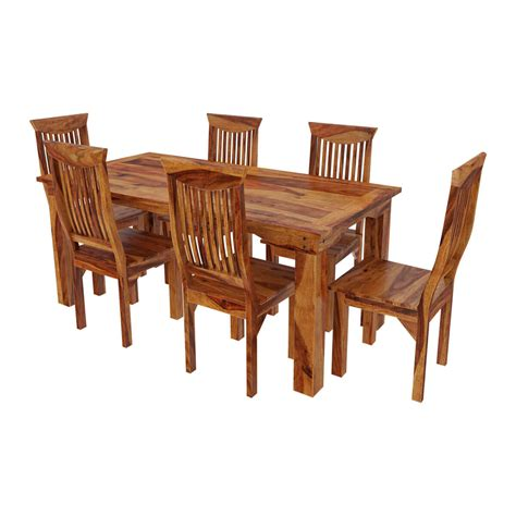 Idaho Modern Rustic Solid Wood Dining Table Chair Set