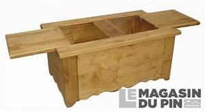 Table Basse Pin Massif : table basse bar 105 cm en pin massif chamonix 2 plateaux ~ Teatrodelosmanantiales.com Idées de Décoration