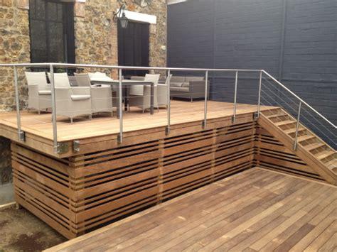 hauteur garde corps patio terrasse bois en hauteur sur pilotis patio decking patios and backyard