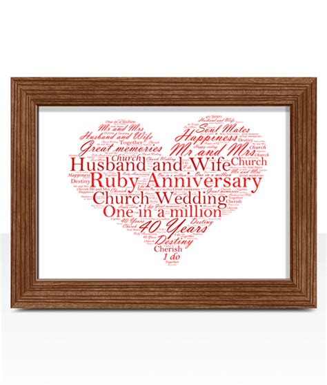 ruby wedding 40th anniversary word gift abc prints