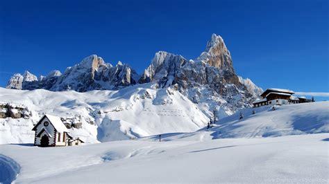 Dolomites. Alps Italy. Winter Snow Wallpapers