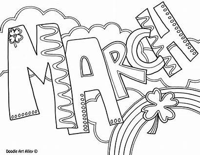 Coloring March Months Pages Calendar Doodles Classroom