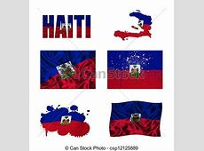 Haitian flag collage Haiti flag and map in different