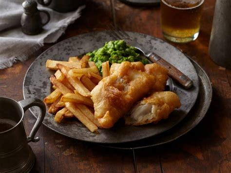cuisine englos fish and chips with mushy peas recipes cooking channel