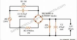 12volt Transformerless Power Supply Circuit