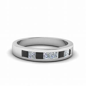 Channel set wedding anniversary band with black diamond in for Womens black diamond wedding rings