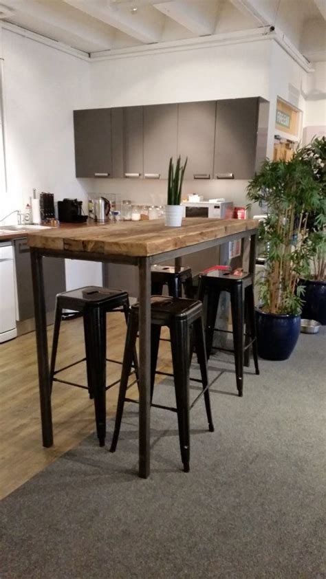 industrial high top table reclaimed industrial chic 6 8 seater tall poseur bar table