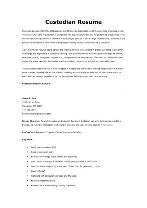 Custodian Resume Sles by Resume Sles Custodian Resume