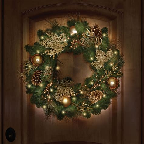 cordless pre lit wreath 24 dia home