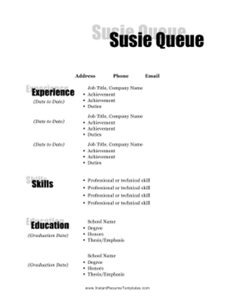 shadow resume template