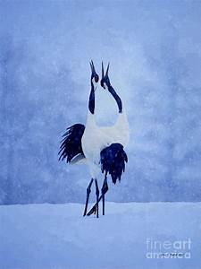 Red Crowned Cranes Mixed Media by Jerry L Barrett