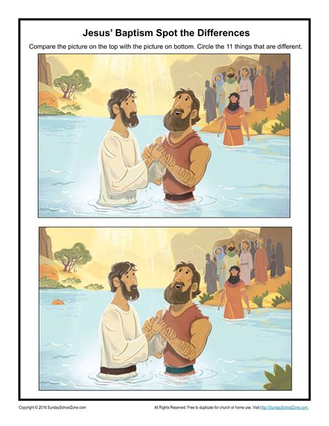 jesus baptism spot  difference childrens bible