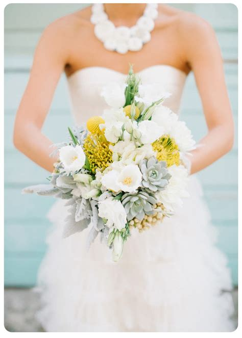 Yellow And Gray Bridal Bouquet With Succulents And