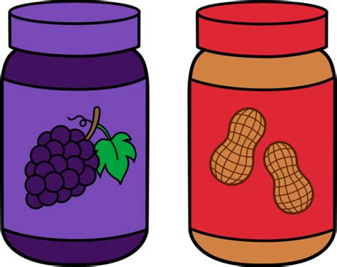 Jars Of Peanut Butter And Jelly  Free Clip Art