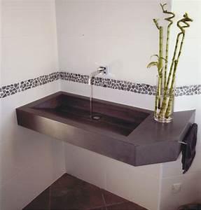 mobilier beton salle de bain vasque en beton grise With vasque salle de bain grise