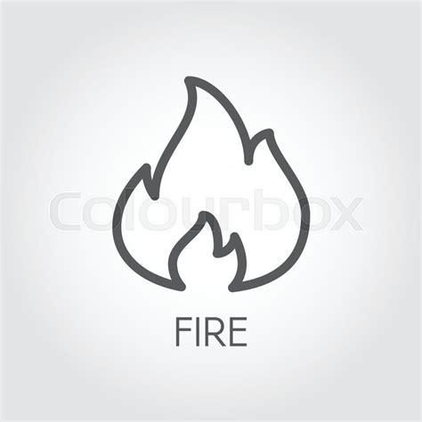 Abstract Line Icon Of Fire Flame Gas Simplicity Outline Pictograph On Gray Background Vector