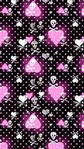 Pink Heart and Skull Patterns Wallpaper - Free iPhone ...