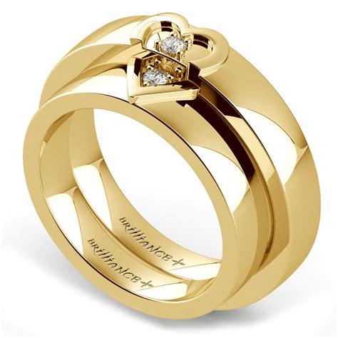 matching split wedding ring in yellow gold