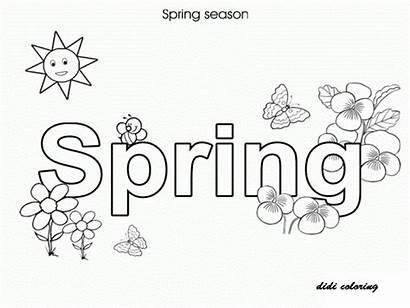 Spring Pages Coloring Flower Seasons Season Printable