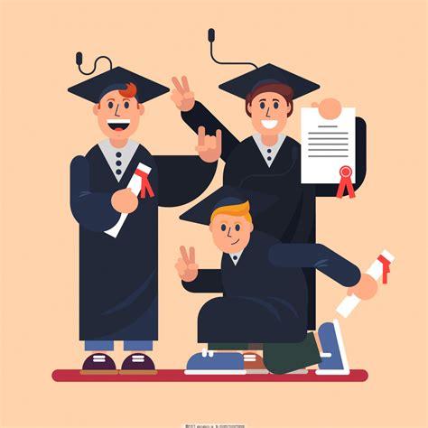 可爱卡通的毕业生插画图片_动漫人物_动漫卡通_图行天下图库